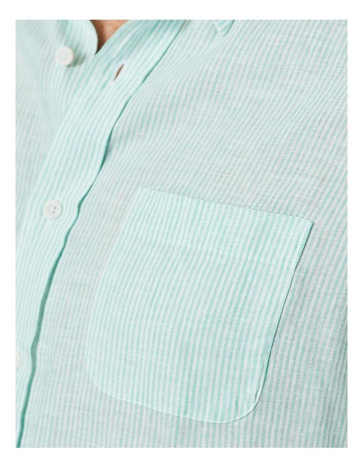 Pure Linen Stripe Short Sleeve Shirt Jade image 4