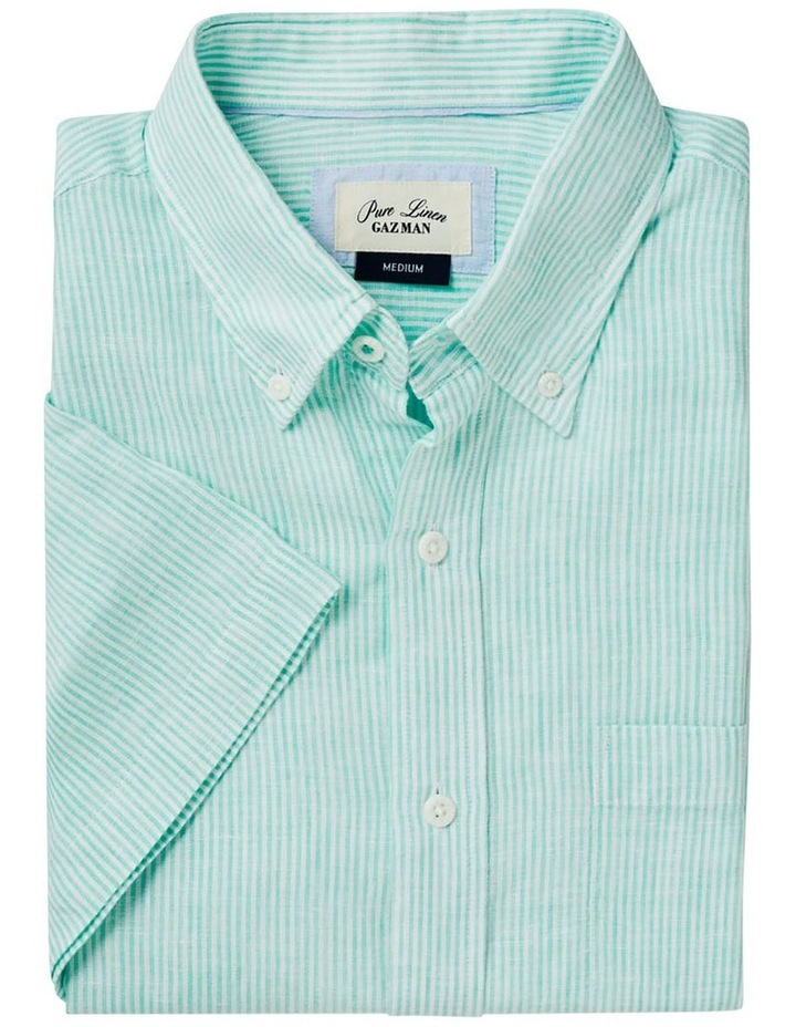 Pure Linen Stripe Short Sleeve Shirt Jade image 5