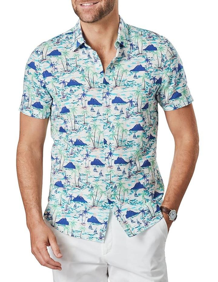Tailored Linen Blend Island Print Short Sleeve Shirt Blue Print image 1