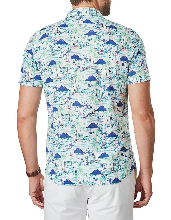Tailored Linen Blend Island Print Short Sleeve Shirt Blue Print image 2