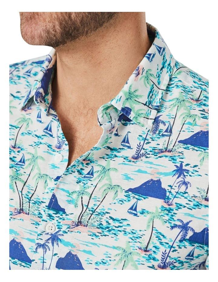 Tailored Linen Blend Island Print Short Sleeve Shirt Blue Print image 3