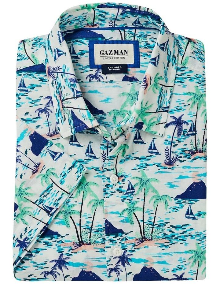 Tailored Linen Blend Island Print Short Sleeve Shirt Blue Print image 4