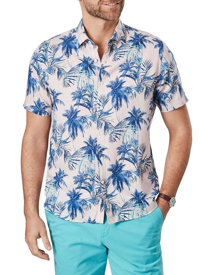 Linen Blend Tropical Print Short Sleeve Shirt Pink image 1