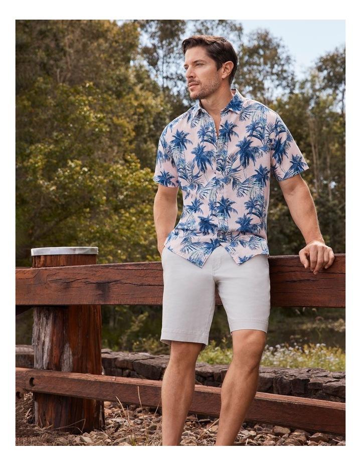 Linen Blend Tropical Print Short Sleeve Shirt Pink image 2