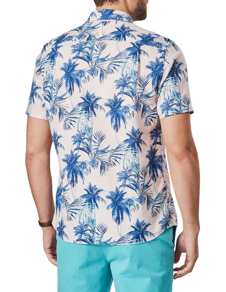Linen Blend Tropical Print Short Sleeve Shirt Pink image 3
