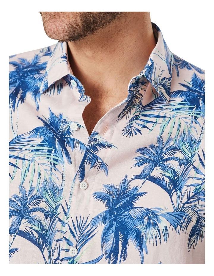 Linen Blend Tropical Print Short Sleeve Shirt Pink image 4