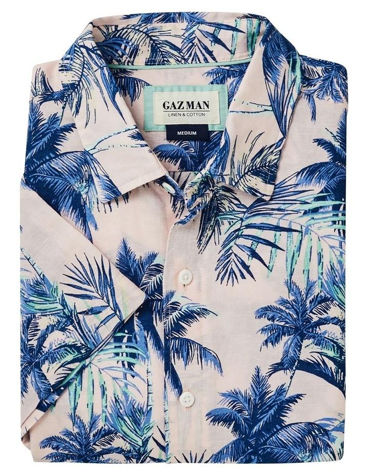 Linen Blend Tropical Print Short Sleeve Shirt Pink image 5