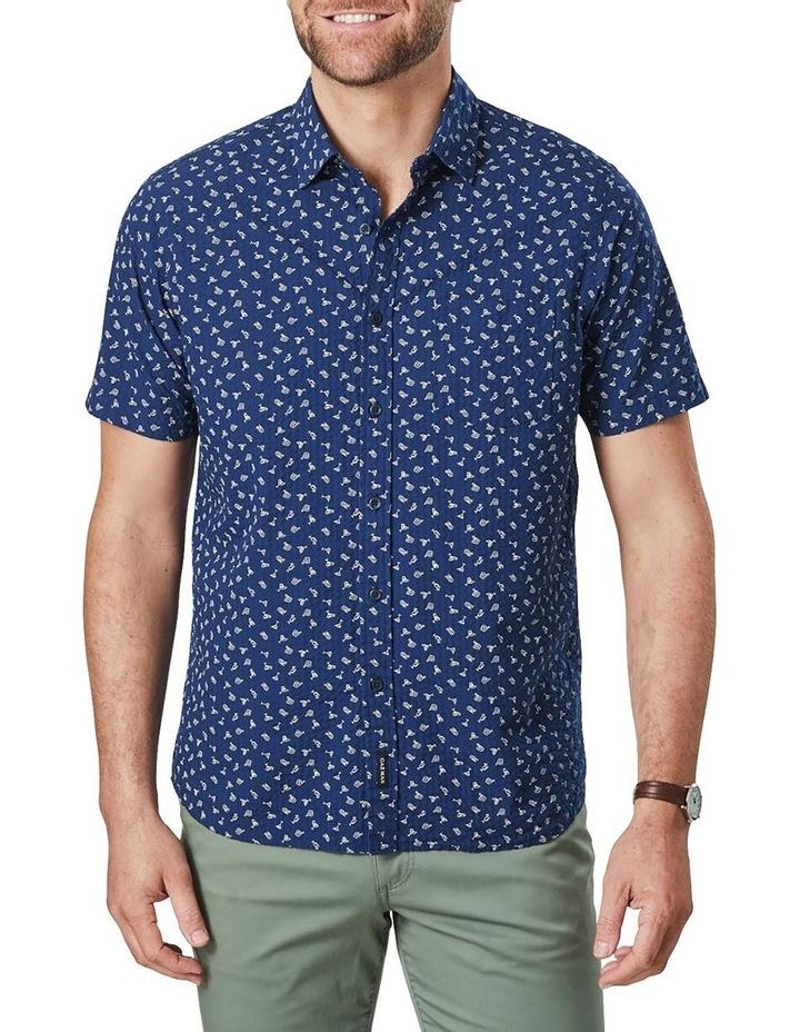 Seersucker Shark Fin Print Short Sleeve Shirt Blue image 1