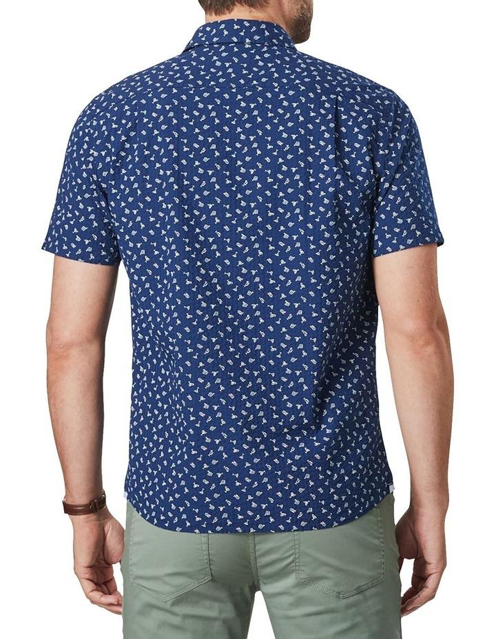 Seersucker Shark Fin Print Short Sleeve Shirt Blue image 2