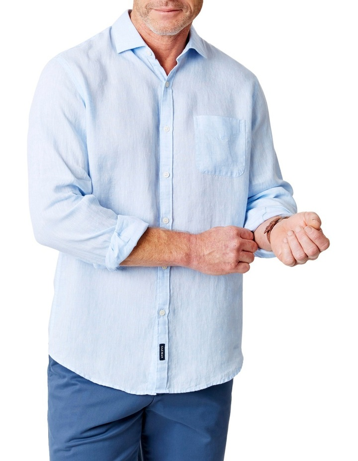 ac9e9ab9dbc7 Pure Linen Plain Long Sleeve Shirt image 1