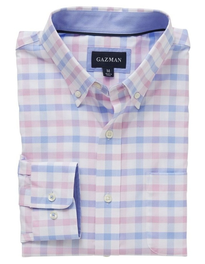 Easy Care Dobby Check Long Sleeve Shirt image 4