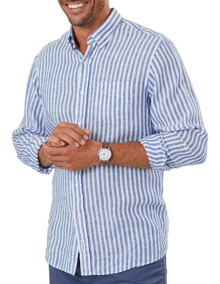 Pure Linen Bengal Stripe Long Sleeve Shirt image 3