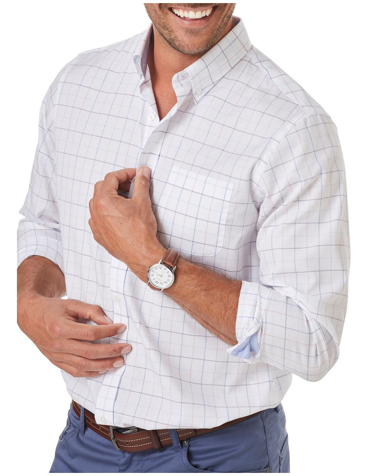 Easy Care Melange Fine Check Long Sleeve Shirt image 3