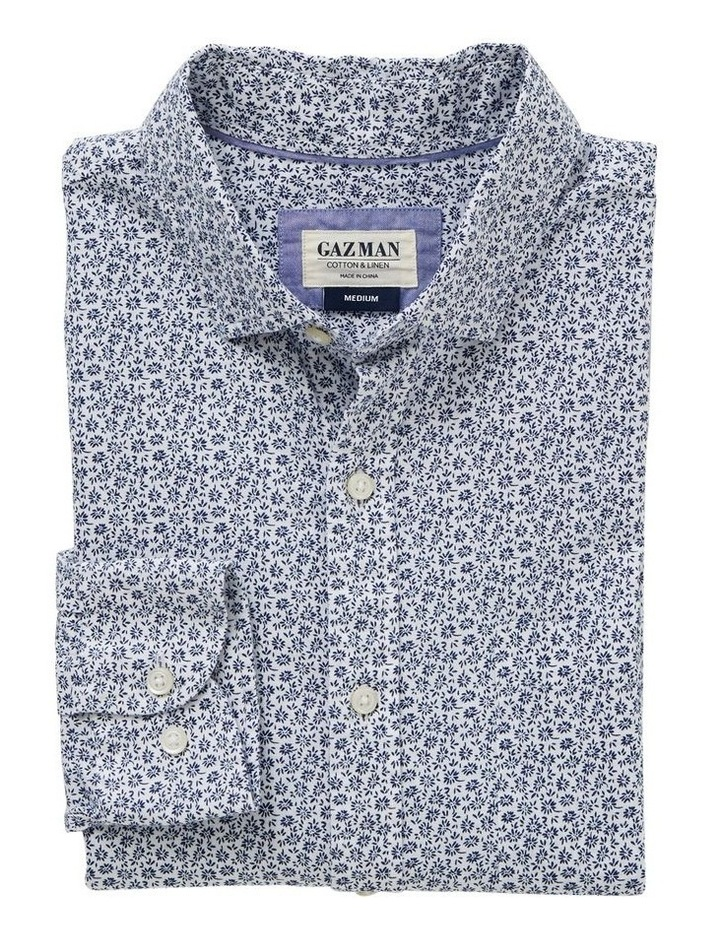 Cotton Linen Floral Print Long Sleeve Shirt image 4