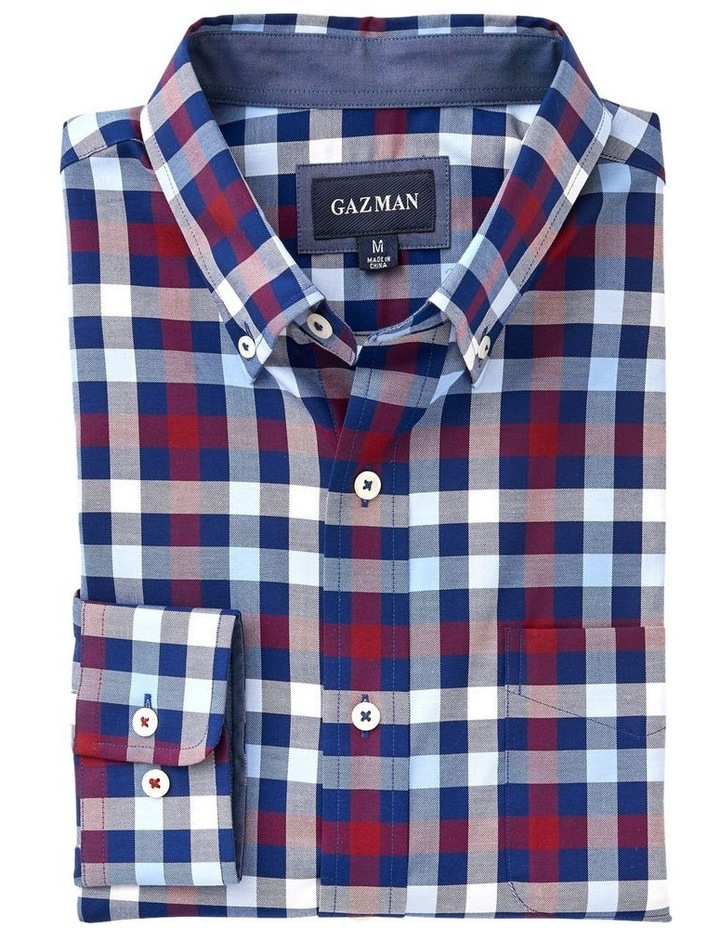 Easy Care Twill Box Check Long Sleeve Shirt image 4