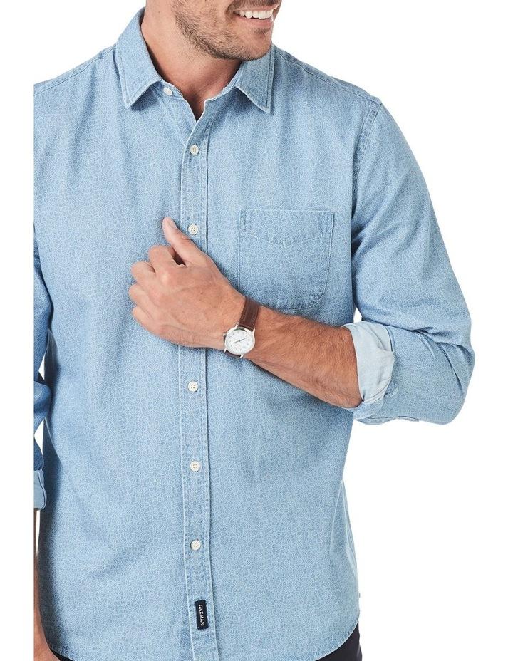 Casual Print Denim Long Sleeve Shirt image 3
