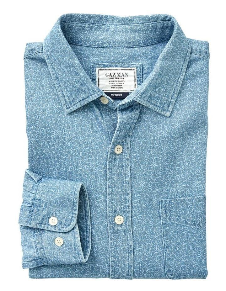Casual Print Denim Long Sleeve Shirt image 4