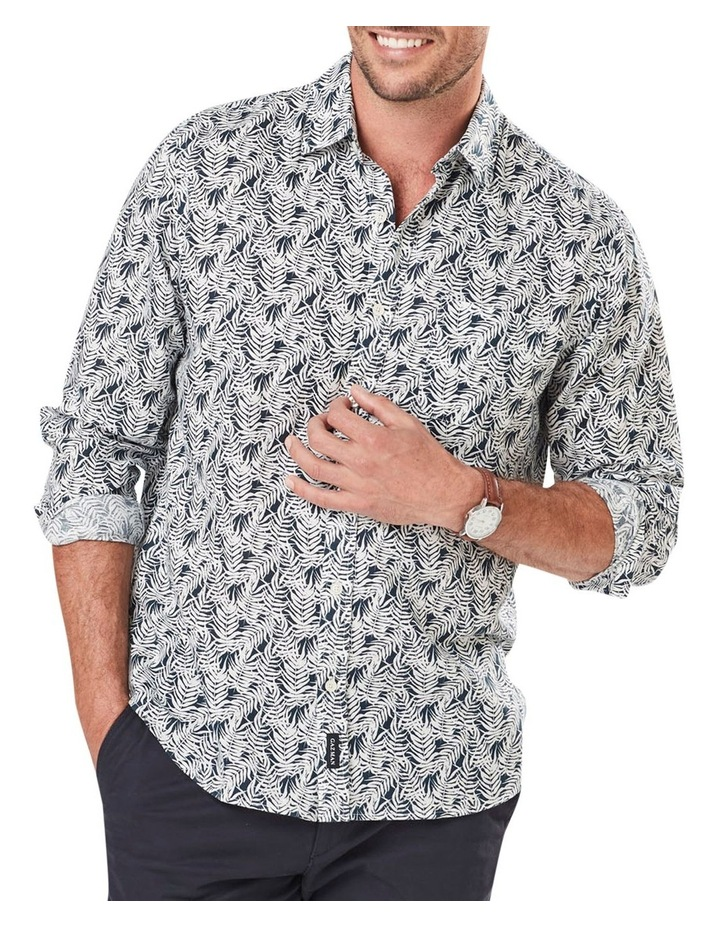 Linen Blend Leaf Print Long Sleeve Shirt image 1