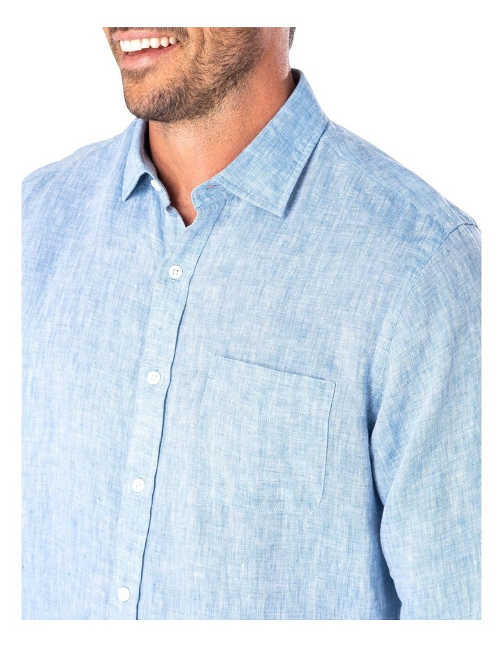 Pure Linen Plain Long Sleeve Shirt image 3