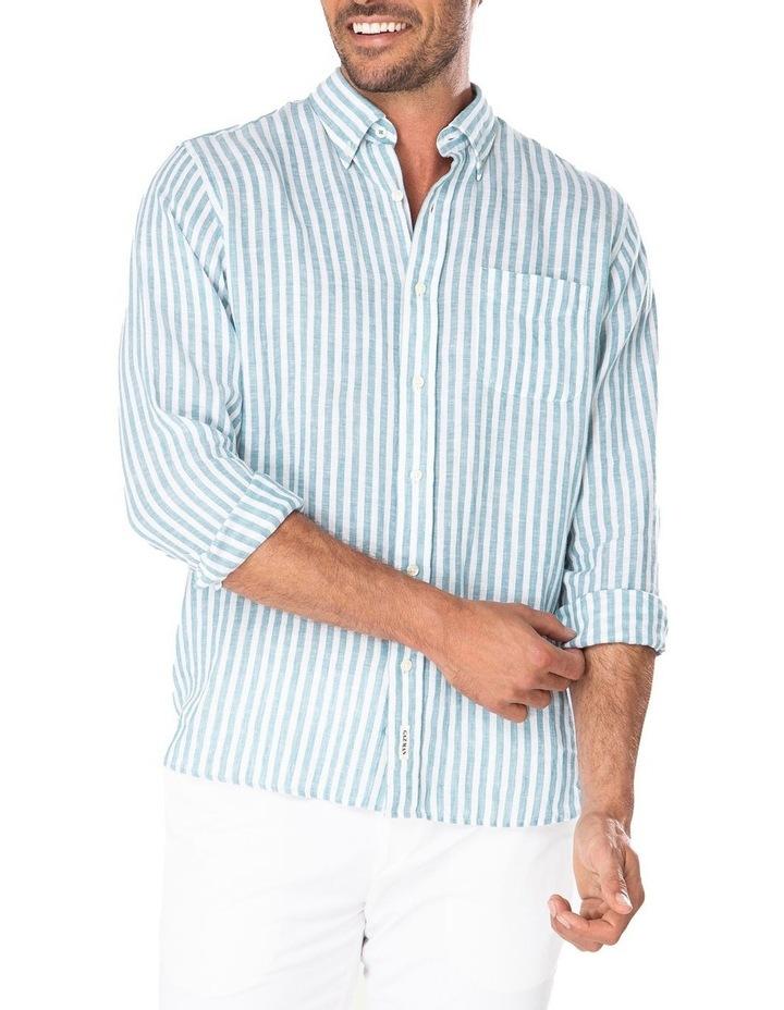 Pure Linen Bengal Stripe Long Sleeve Shirt image 1