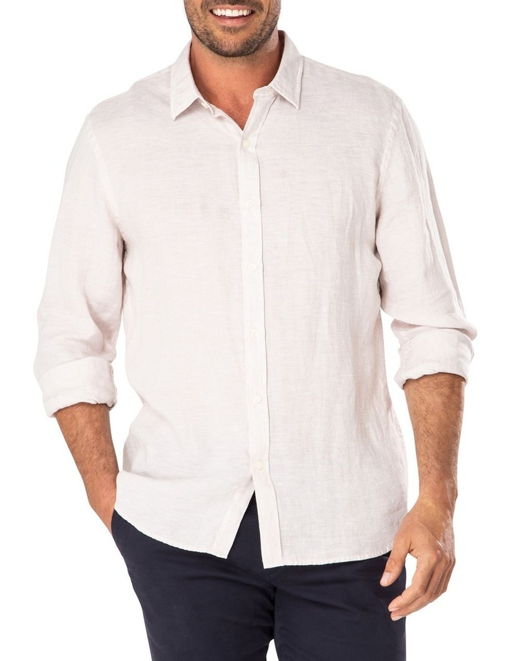 Tailored Pure Linen Plain Long Sleeve Shirt image 1