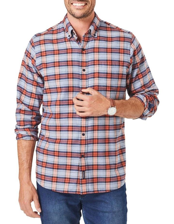 Brushed Twill Check Long Sleeve Shirt Burnt Orange image 1