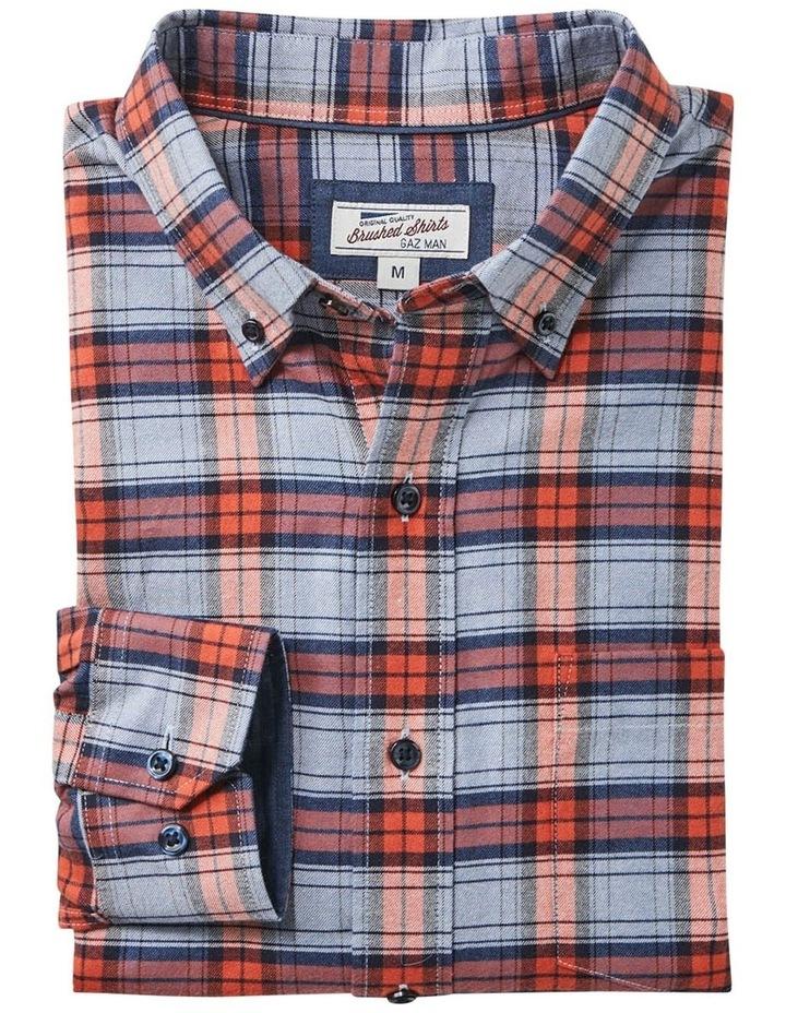 Brushed Twill Check Long Sleeve Shirt Burnt Orange image 5
