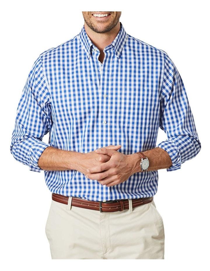 Non-Iron Oxford Gingham Long Sleeve Shirt Navy image 1
