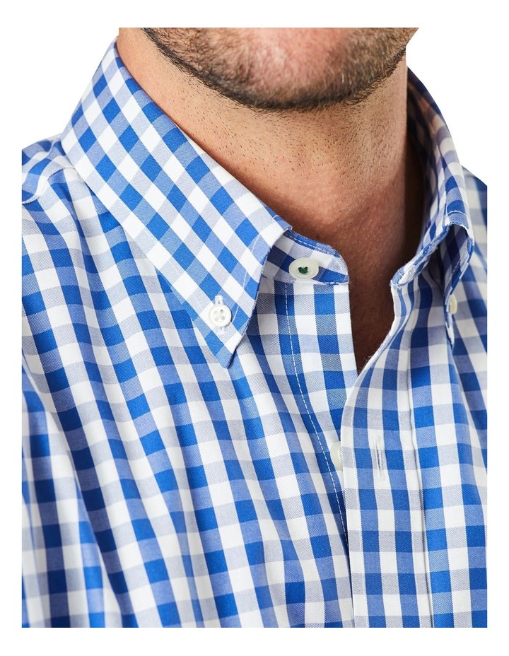Non-Iron Oxford Gingham Long Sleeve Shirt Navy image 3