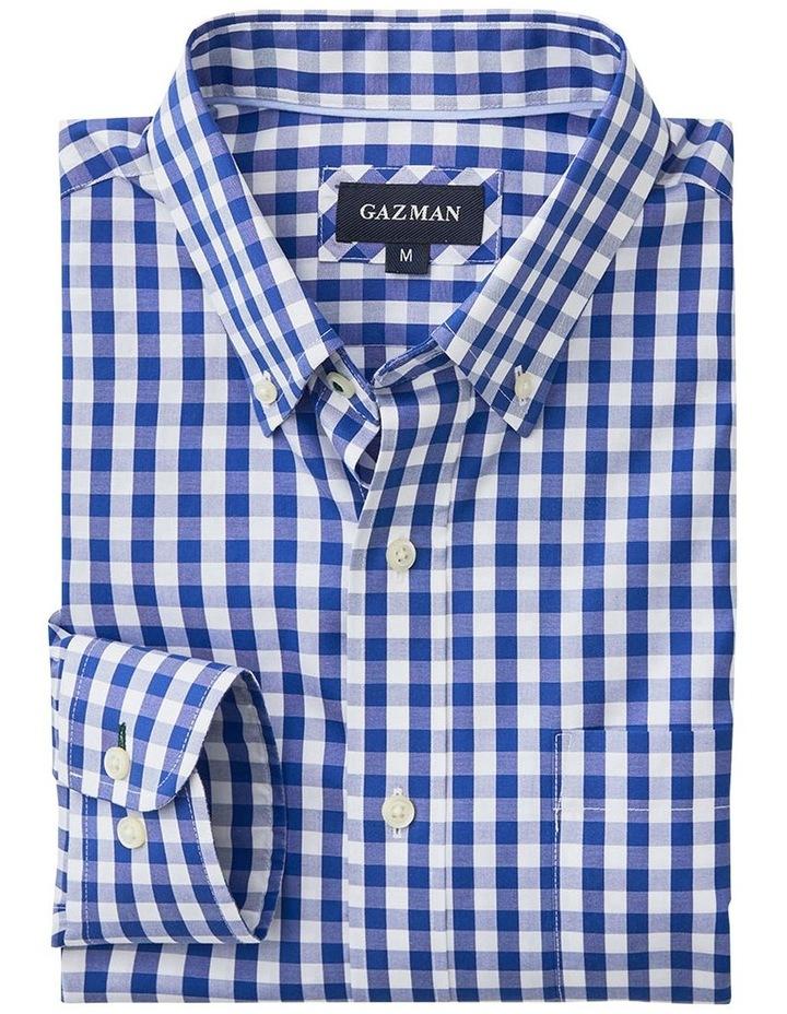 Non-Iron Oxford Gingham Long Sleeve Shirt Navy image 5