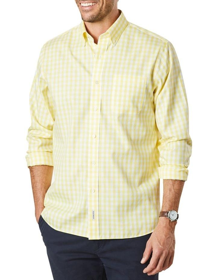 Non-Iron Oxford Gingham Long Sleeve Shirt Yellow image 1