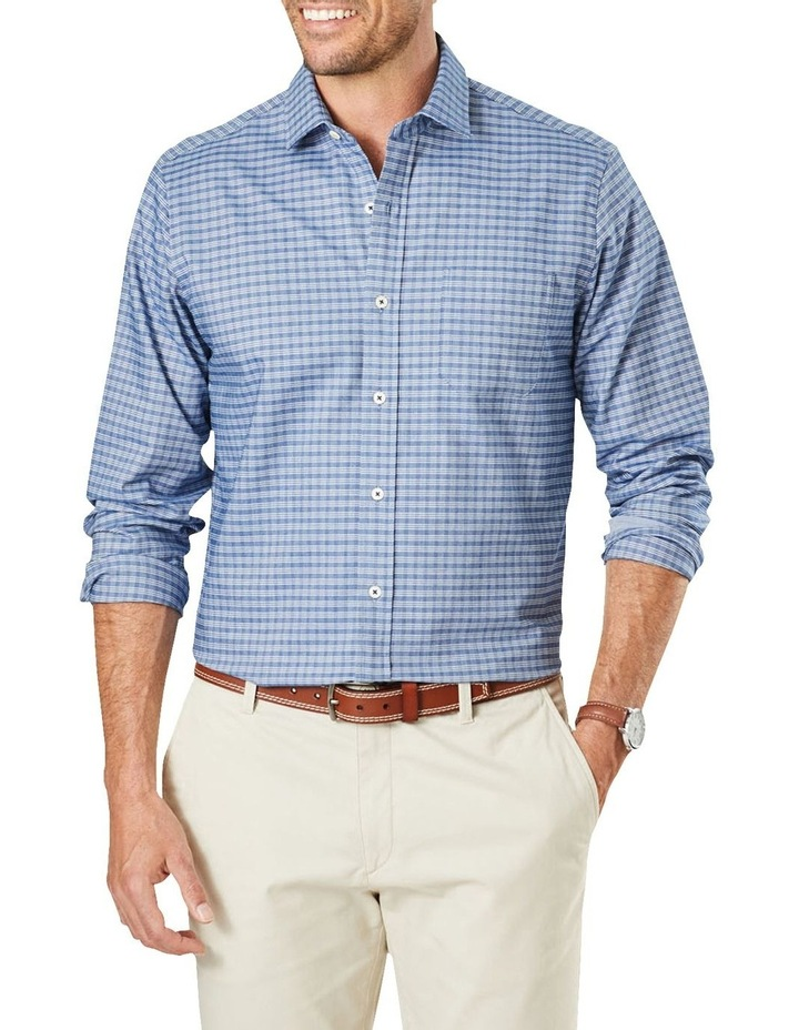 Easy Care Mini Check Ling Sleeve Shirt Navy image 1