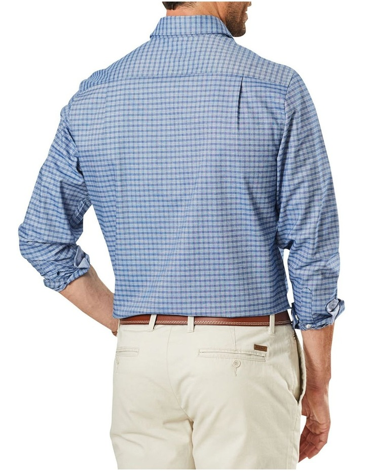 Easy Care Mini Check Ling Sleeve Shirt Navy image 2
