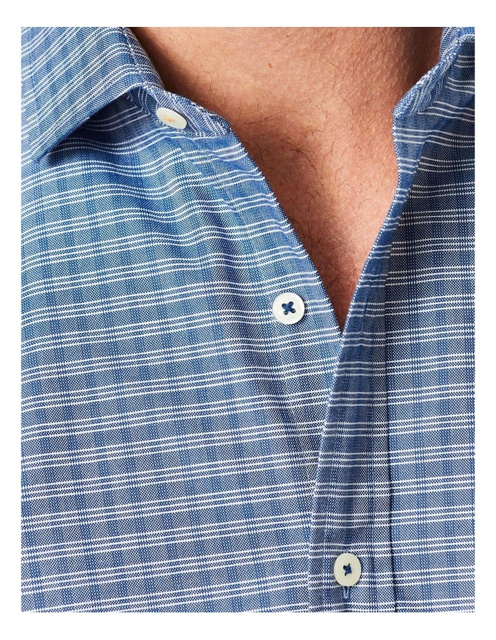 Easy Care Mini Check Ling Sleeve Shirt Navy image 3