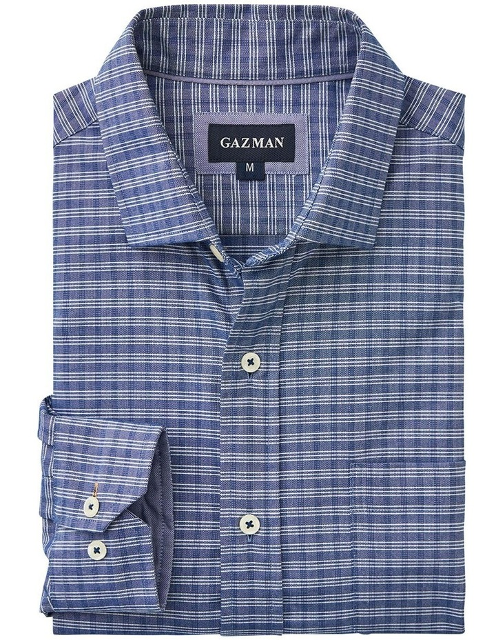 Easy Care Mini Check Ling Sleeve Shirt Navy image 5
