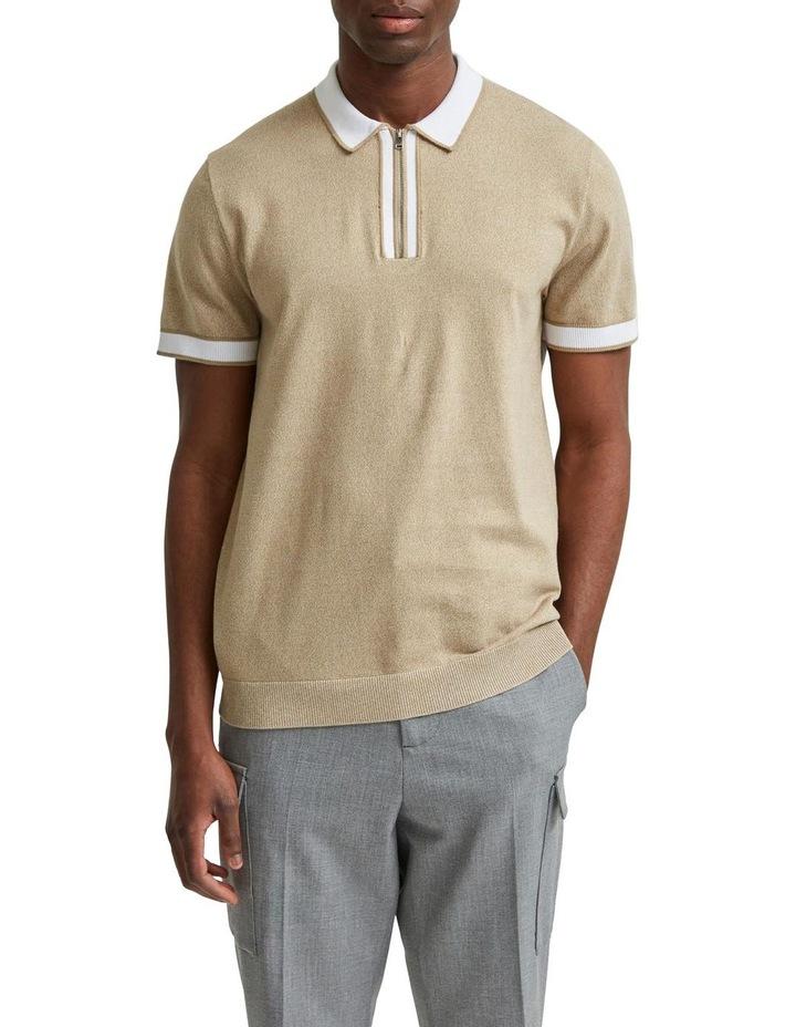 Open Short Sleeve Knit Polo image 1