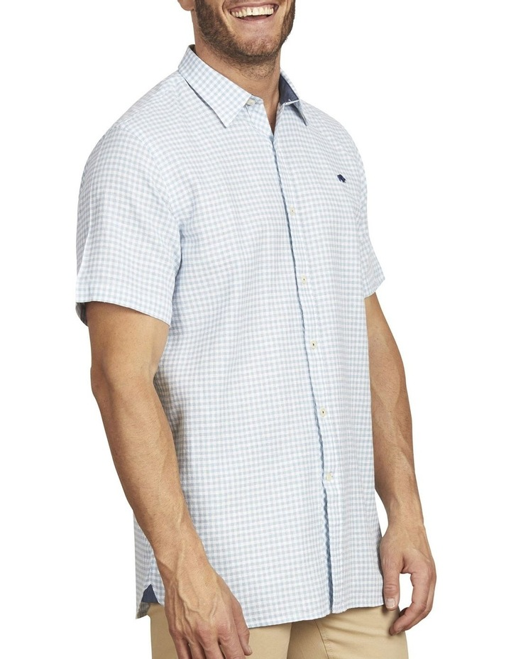 Linen Look Gingham Short Sleeve Shirt image 2
