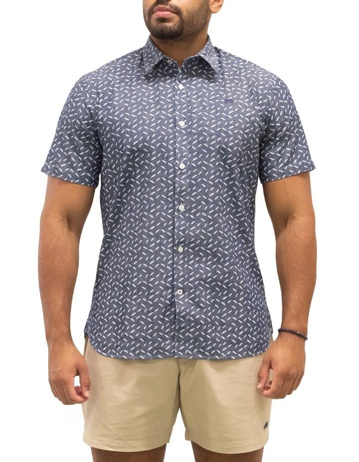 Short Sleeve Indigo Feather Print Shirt image 1