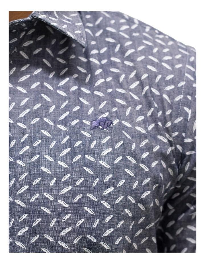 Short Sleeve Indigo Feather Print Shirt image 3
