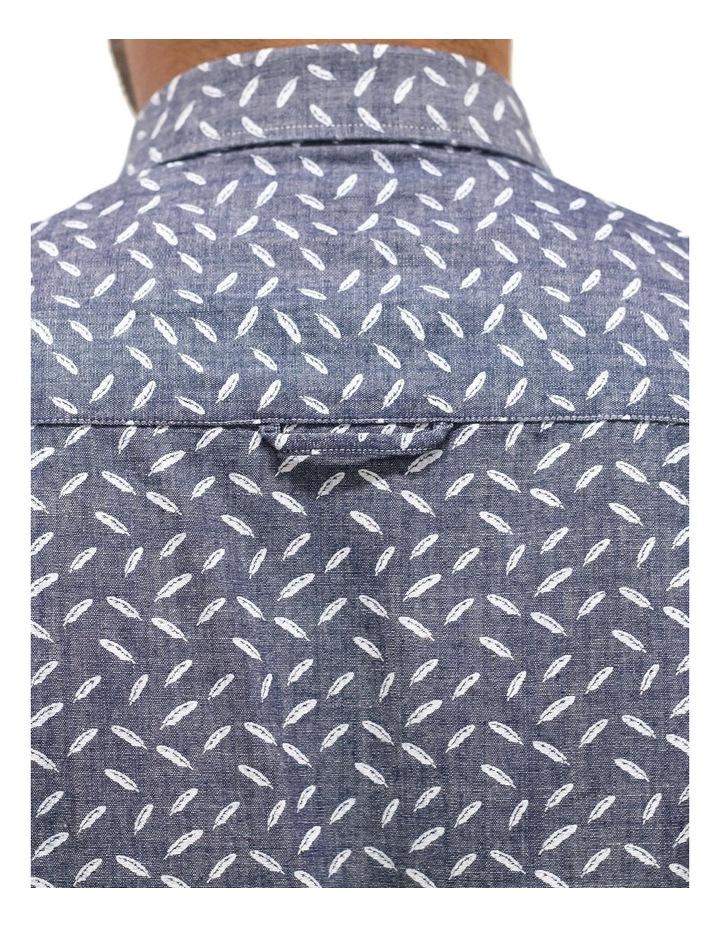 Short Sleeve Indigo Feather Print Shirt image 4
