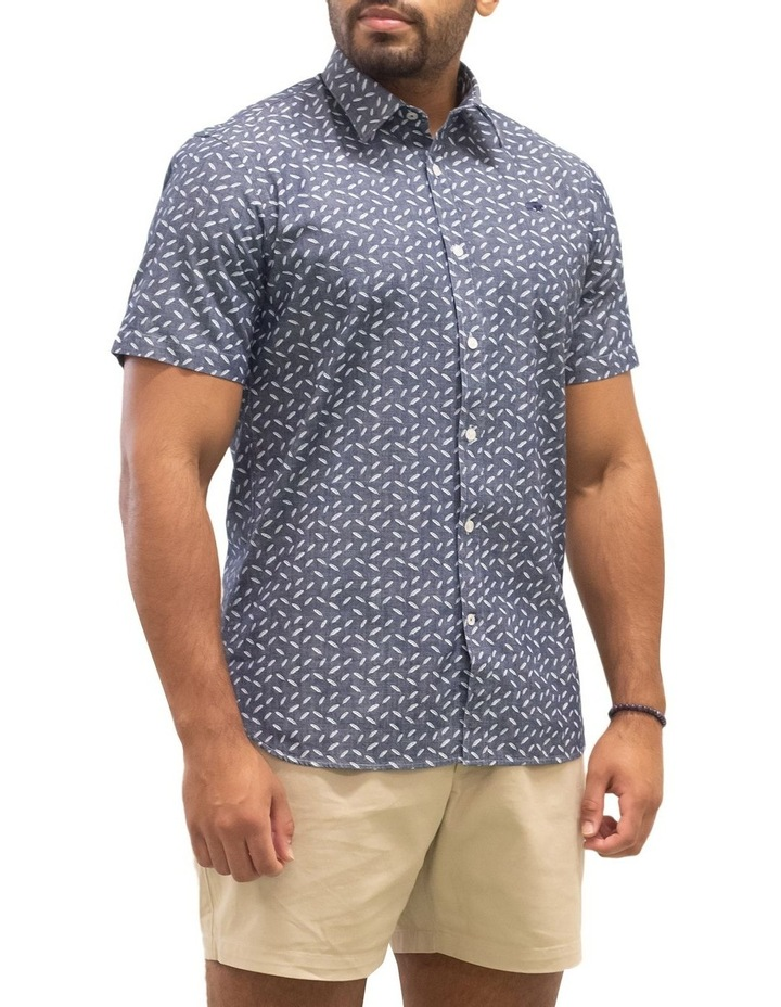 Short Sleeve Indigo Feather Print Shirt image 5