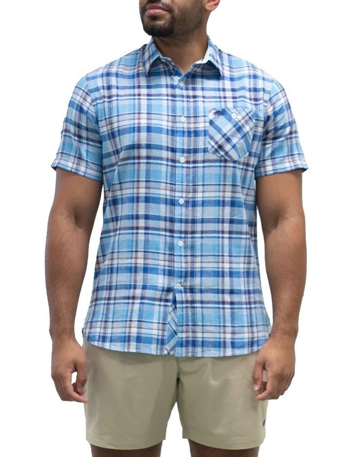 Short Sleeve Linen Cotton Large Check Shirt image 1