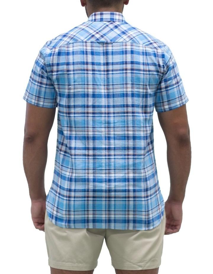 Short Sleeve Linen Cotton Large Check Shirt image 2