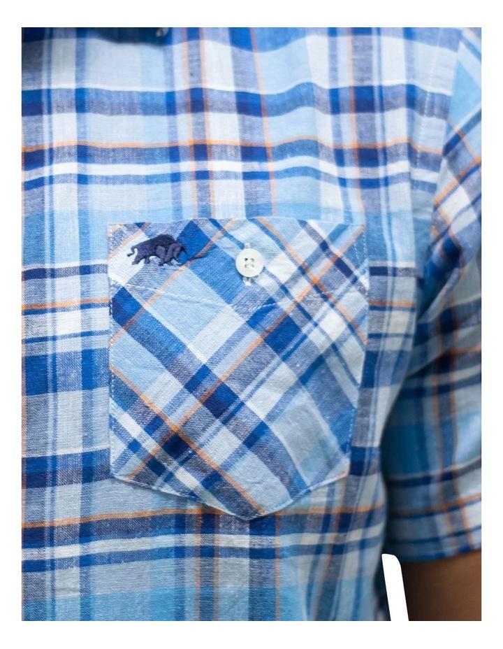 Short Sleeve Linen Cotton Large Check Shirt image 3