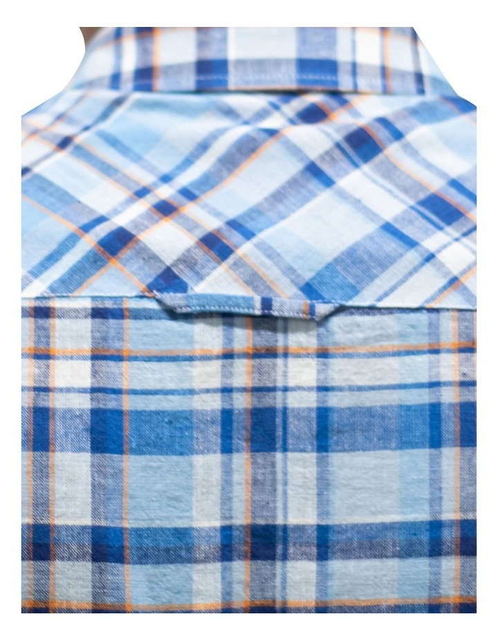 Short Sleeve Linen Cotton Large Check Shirt image 4
