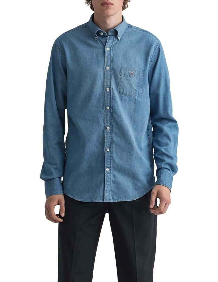 Indigo Long Sleeve Broadcloth Shirt image 1
