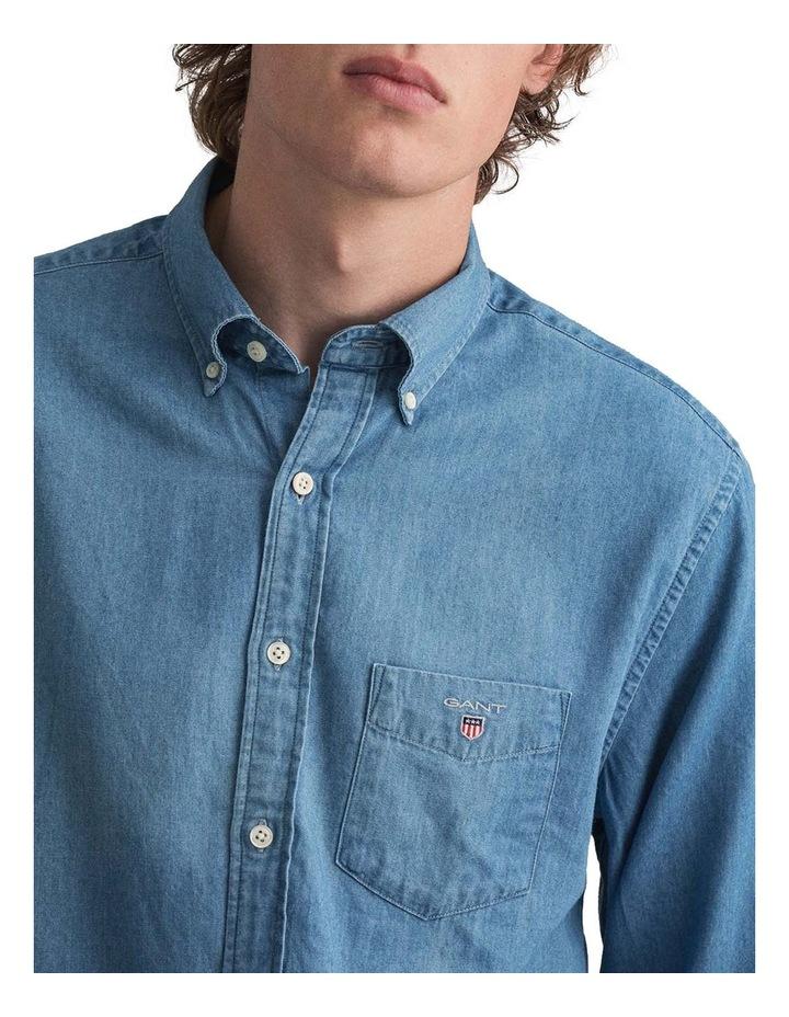 Indigo Long Sleeve Broadcloth Shirt image 3