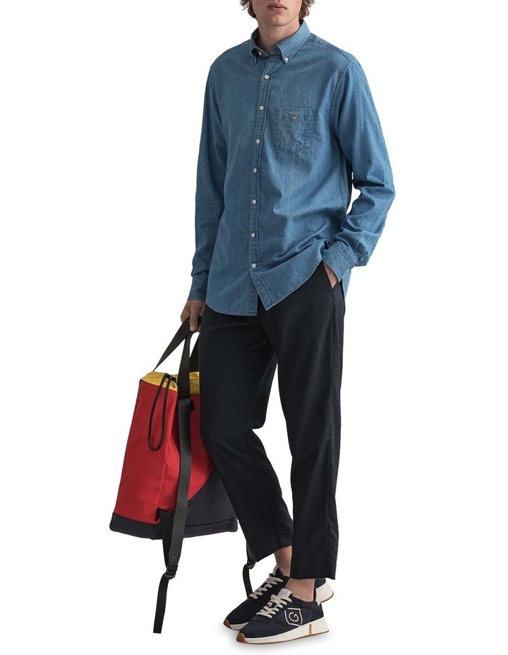 Indigo Long Sleeve Broadcloth Shirt image 4