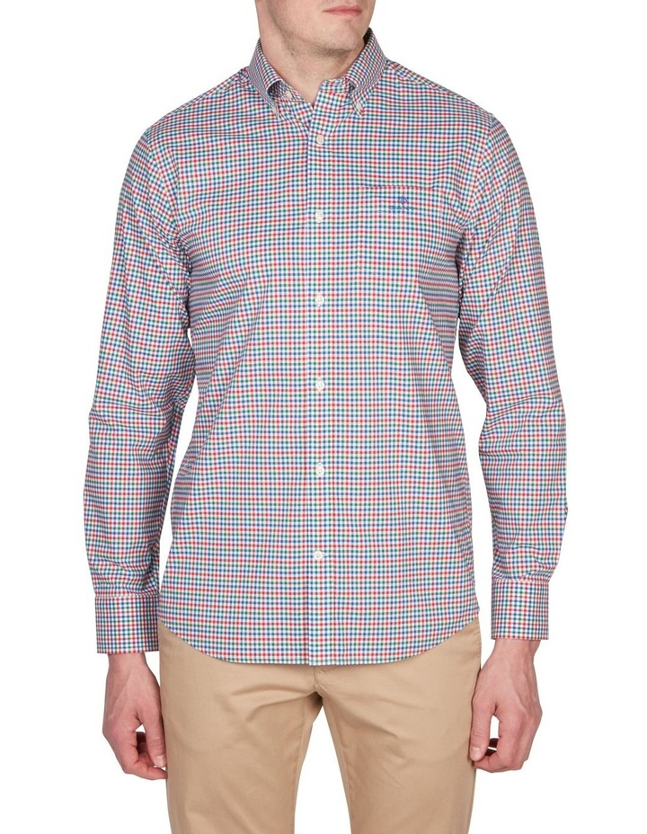Regular 3 Colour Gingham Long Sleeve Broadcloth Shirt Red image 1