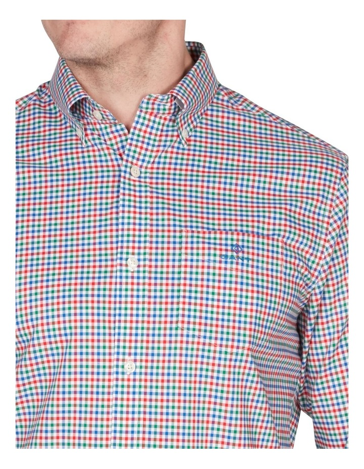 Regular 3 Colour Gingham Long Sleeve Broadcloth Shirt Red image 2